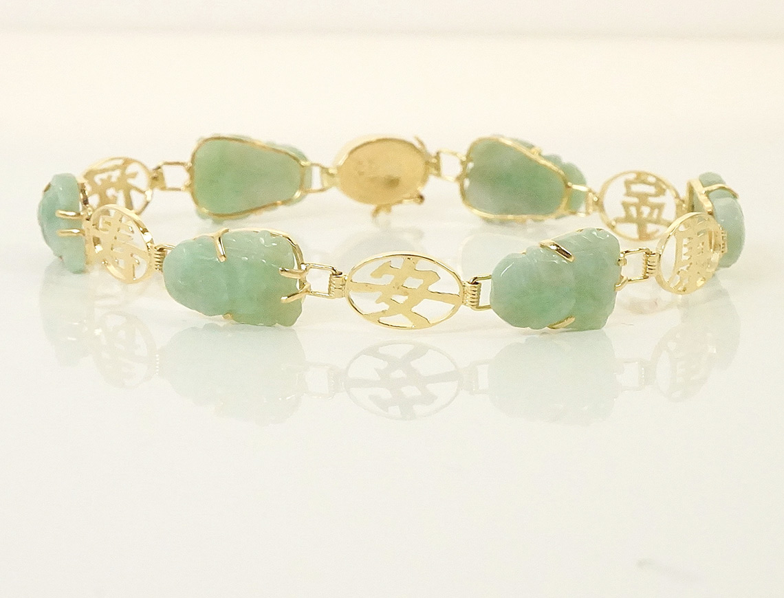Carved jade bracelet -