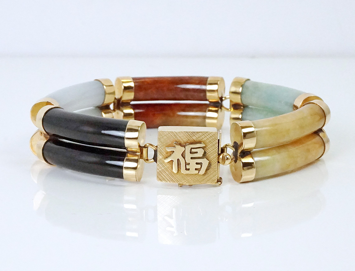 Multicolored jade sectional bracelet