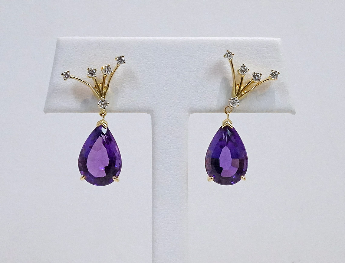 Amethyst and diamond earrings by Suna Brothers