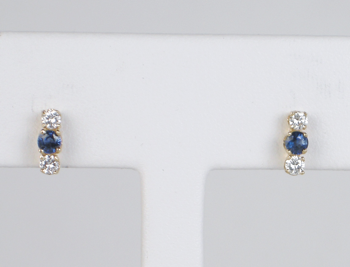 Petite sapphire and diamond earrings