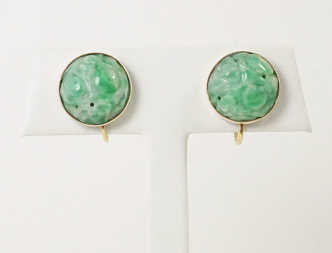 Carved jade earrings