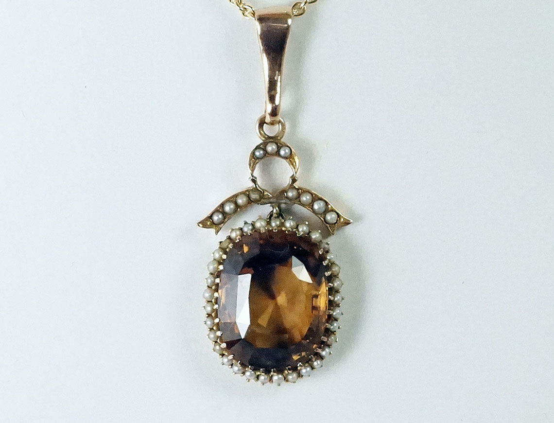 Golden brown natural zircon pendant