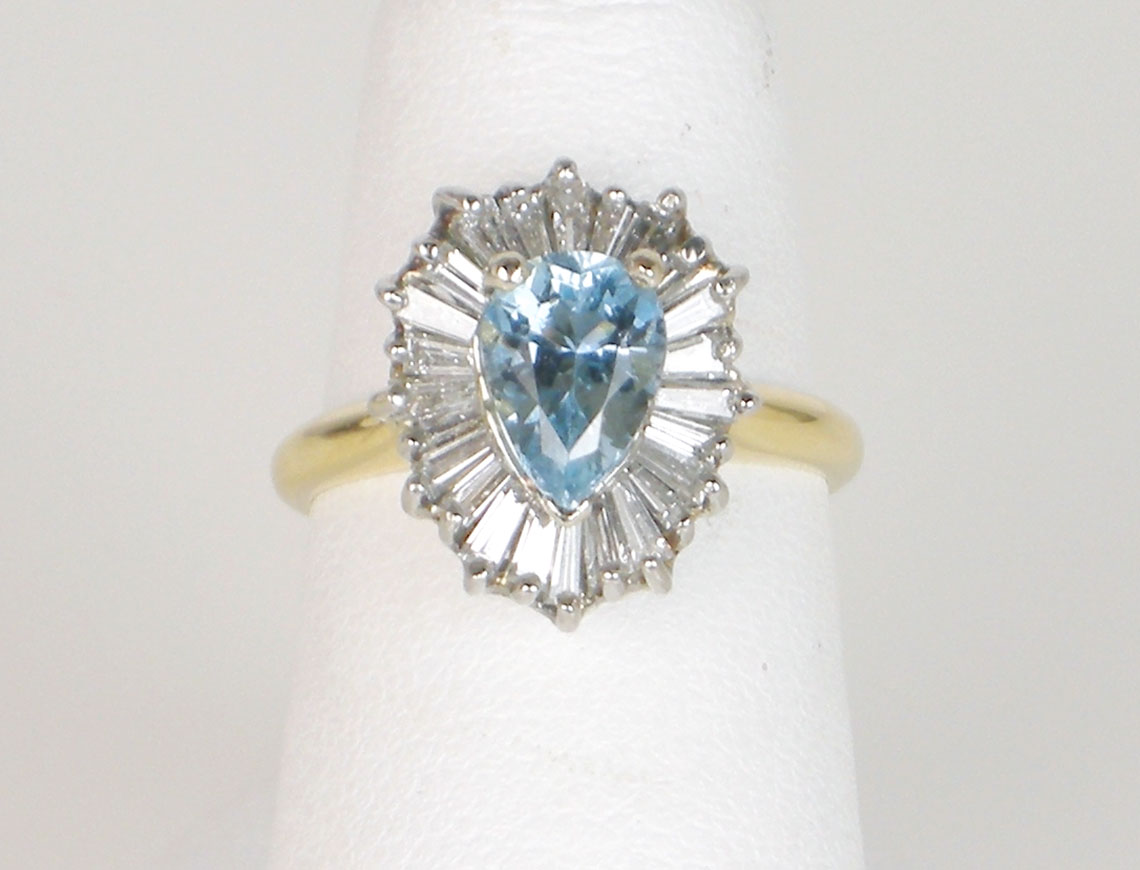 Aquamarine in classic ballerina setting