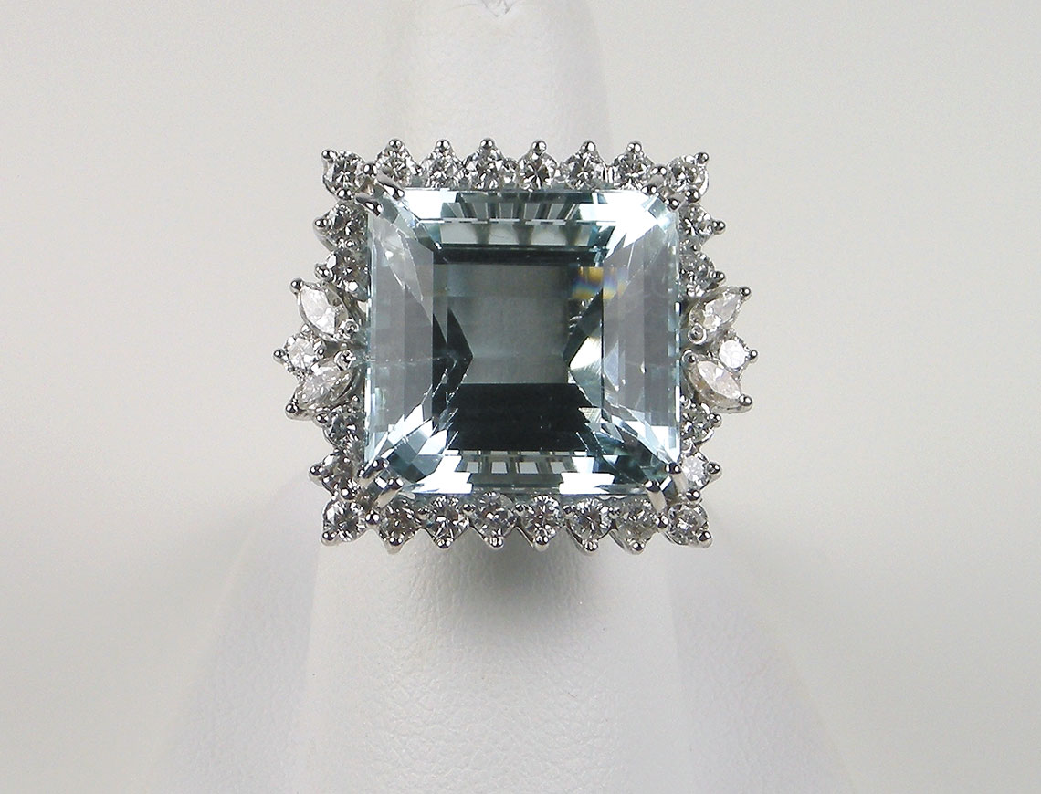 Aquamarine and diamonds