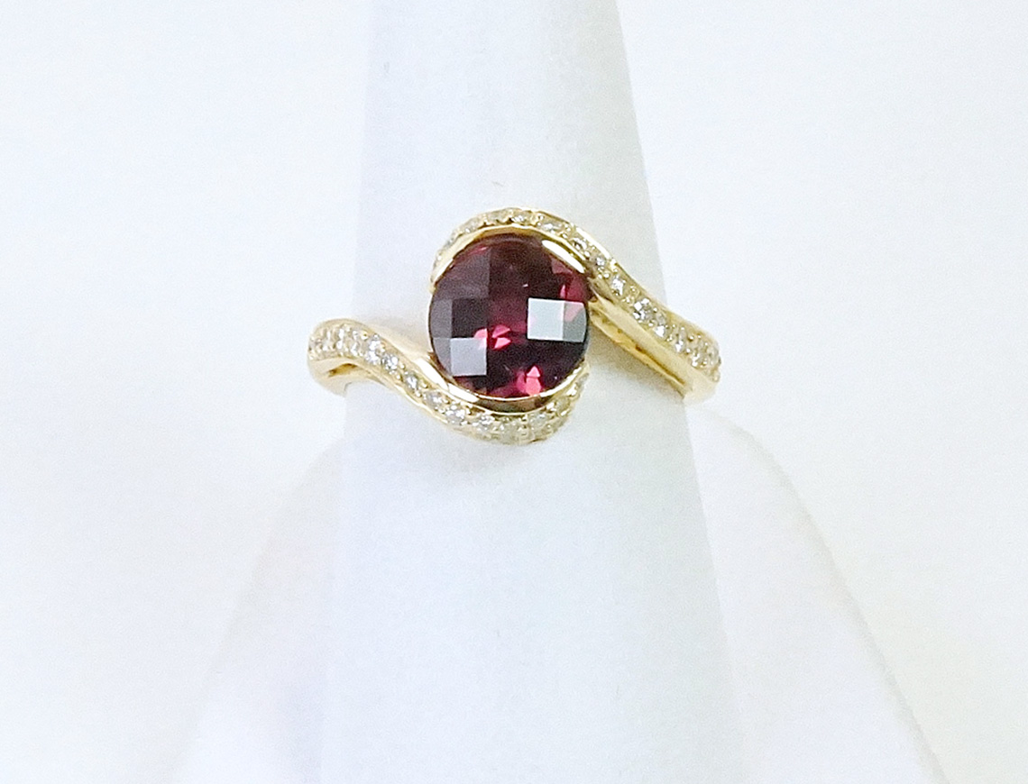Rhodolite garnet and diamonds