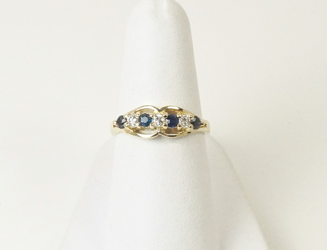 Petite sapphire and diamond band