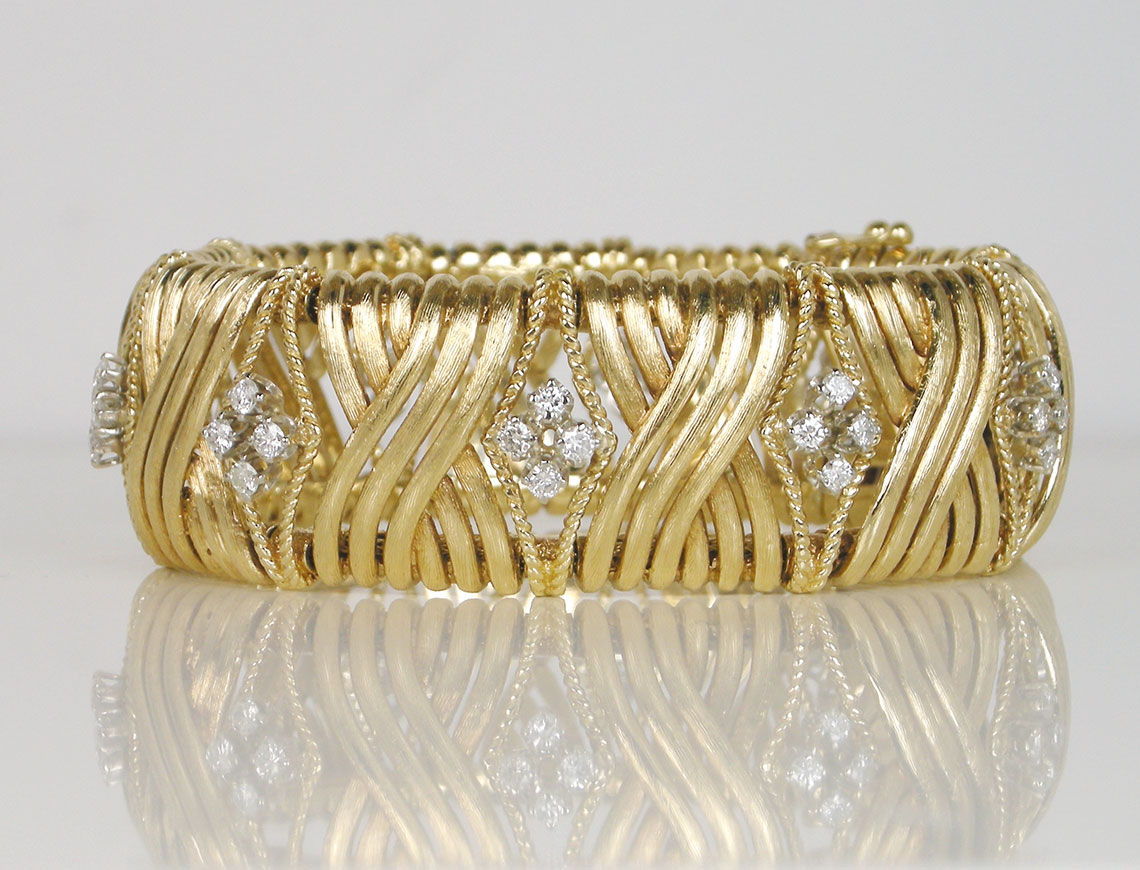 Bold gold and diamond bracelet