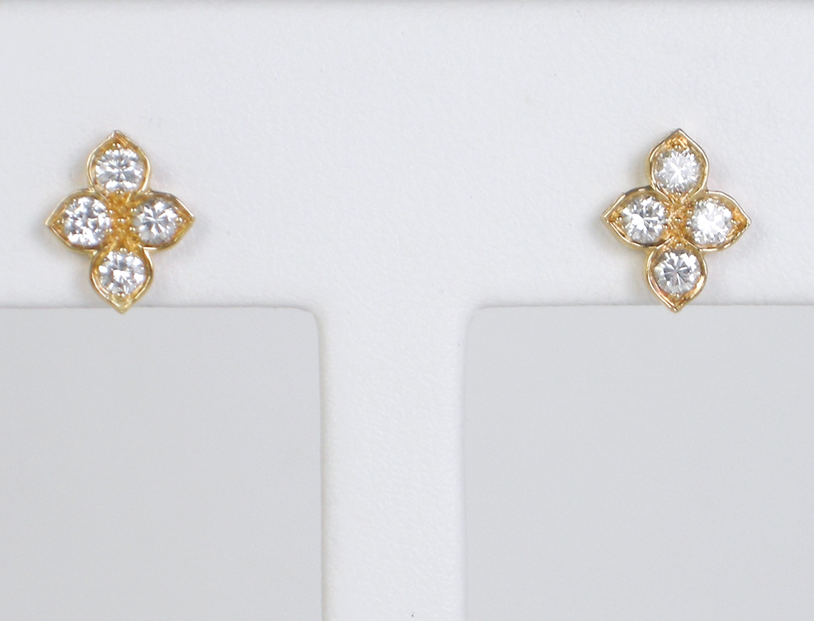 Diamond cluster earrings by Cartier