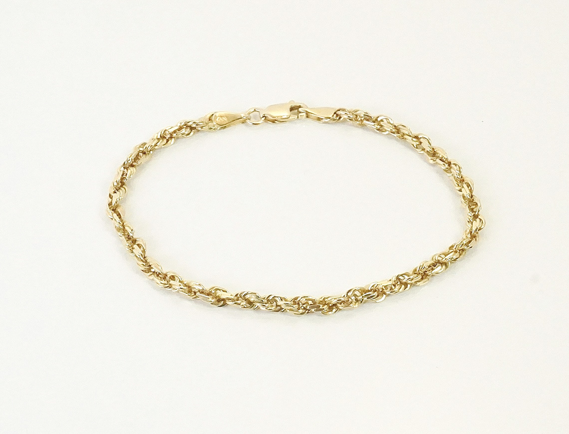 Diamond-cut rope bracelet