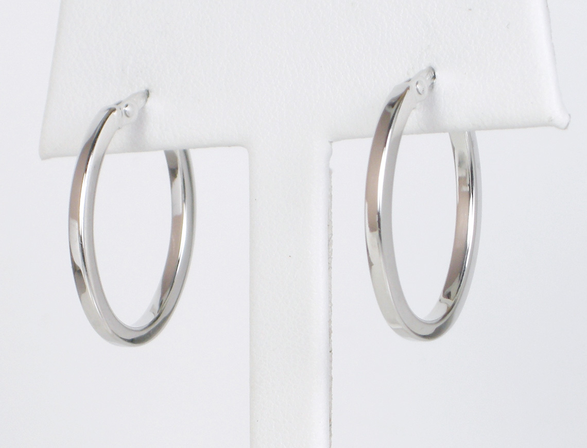 Slender white gold hoops