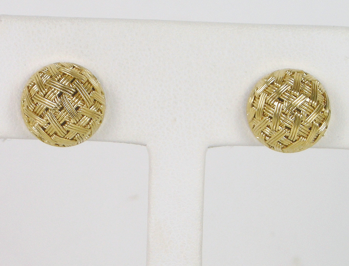 Basketweave button earrings