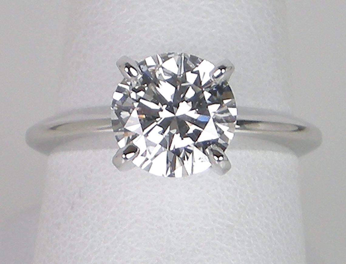1.81 carat diamond in platinum solitaire