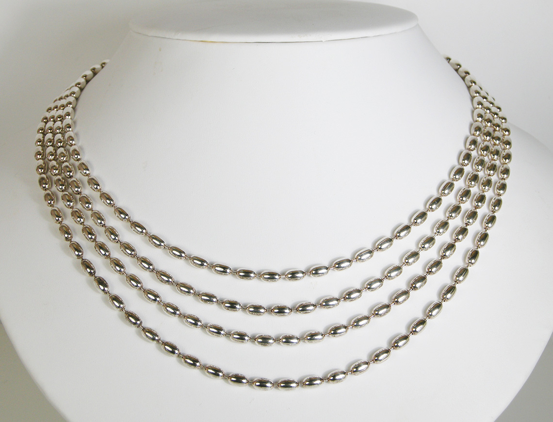 Sterling silver multi strand necklace