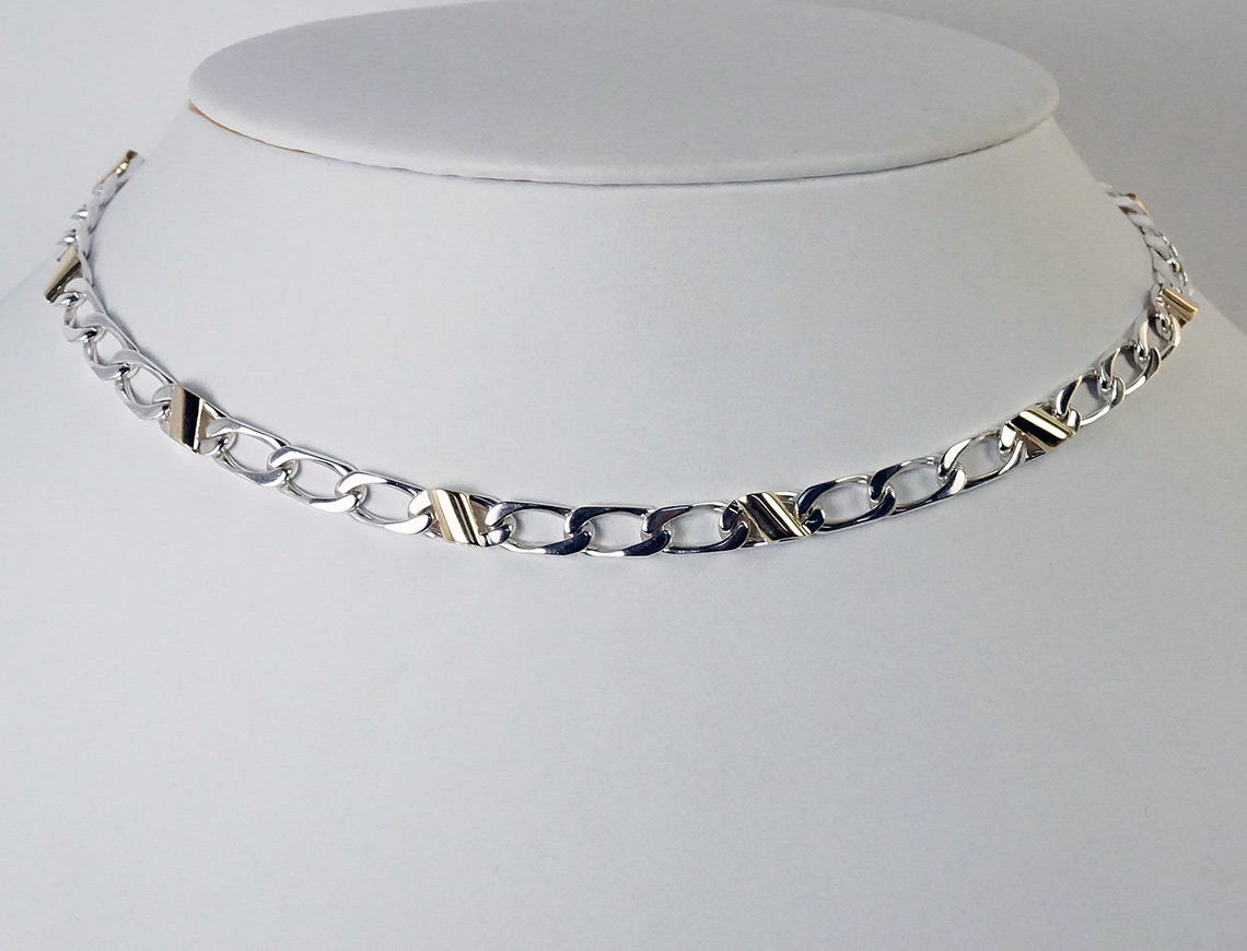 Silver and gold necklace by Tiffany